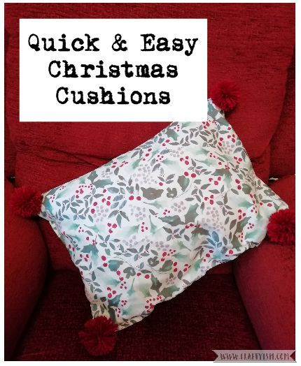 How to tutorial - easy Christmas tea towel pompom cushion | title